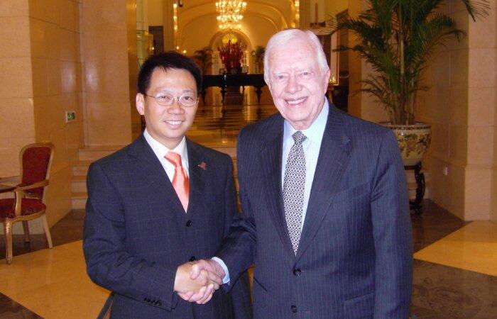 林博士於北京中國人民對外友好協會前美國總統卡達先生會面