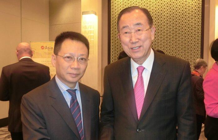 林健忠博士與前聯合國前秘書長潘基文博士探討聯合國難民問題