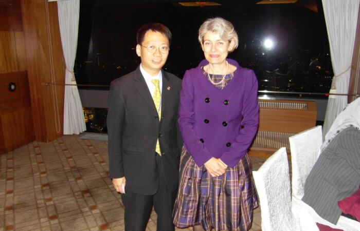 On 30 April 2010, Dr. Lam Had Dinner With Secretary For UNESCO Madame Bokova In Singapore.